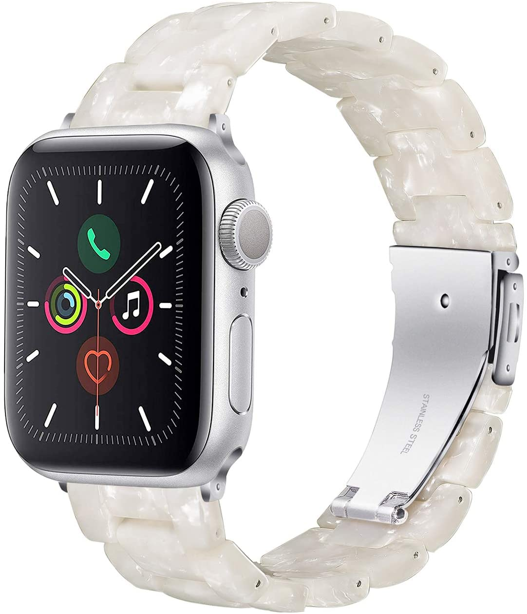 Wongeto Compatible with Apple Watch Band 42mm 44mm Womens for iWatch SE Resin Wristbands with Stainless Steel Metal Buckle Replacement Dressy Bracelet Strap Series 6 5 4 3 2 1 (Pearl White, 42/44mm)