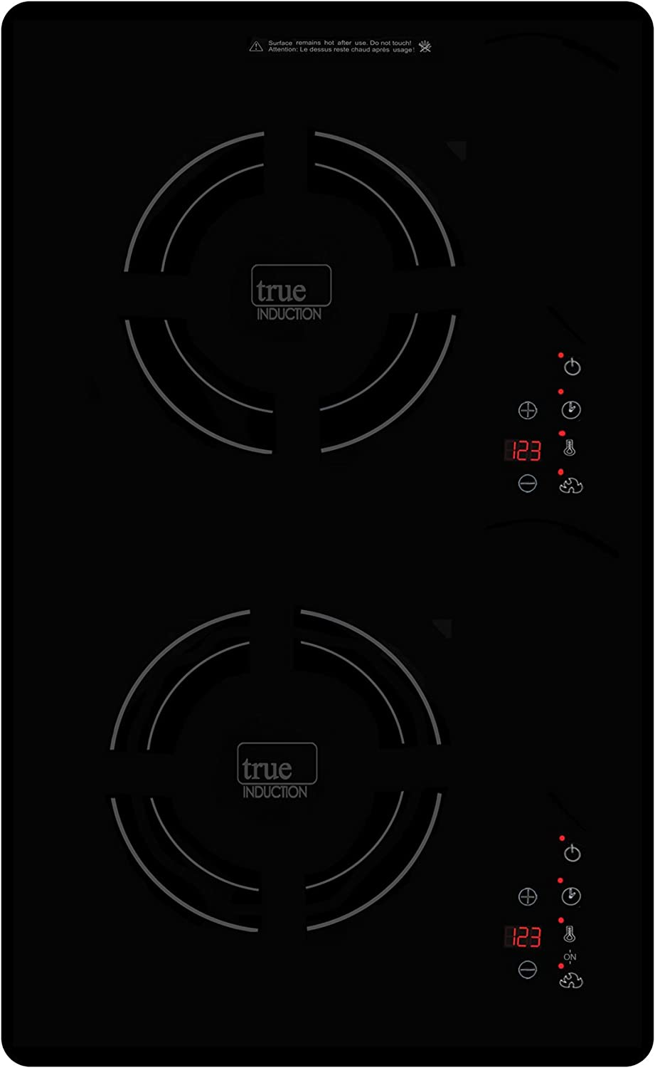 True Induction Cooktop Counter Inset Electric Double Burner Vertical Orientation 1800W