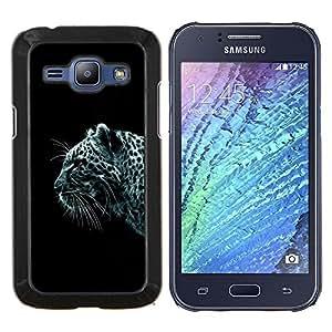 Leopardo de nieve- Metal de aluminio y de plástico duro Caja del teléfono - Negro - Samsung Galaxy J1 / J100