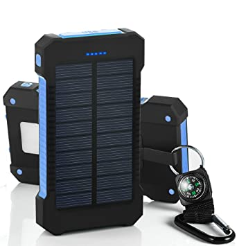 Chargeur Solaire de 10000 mAh avec Double Port USB et Lampe torche ...