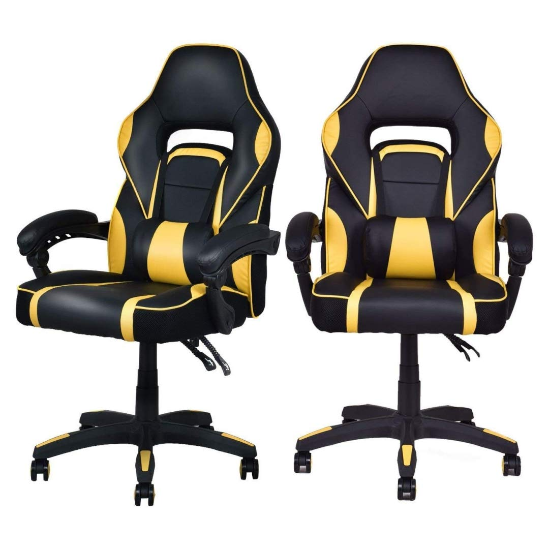 Modern Racing Style Gaming Chairs Thick Padded Seat PU Leather Upholstery Adjustable Recline Design Chair with Waist Pillow Home Office Furniture Decor - Set of 2 Yellow #2125 by KLS14