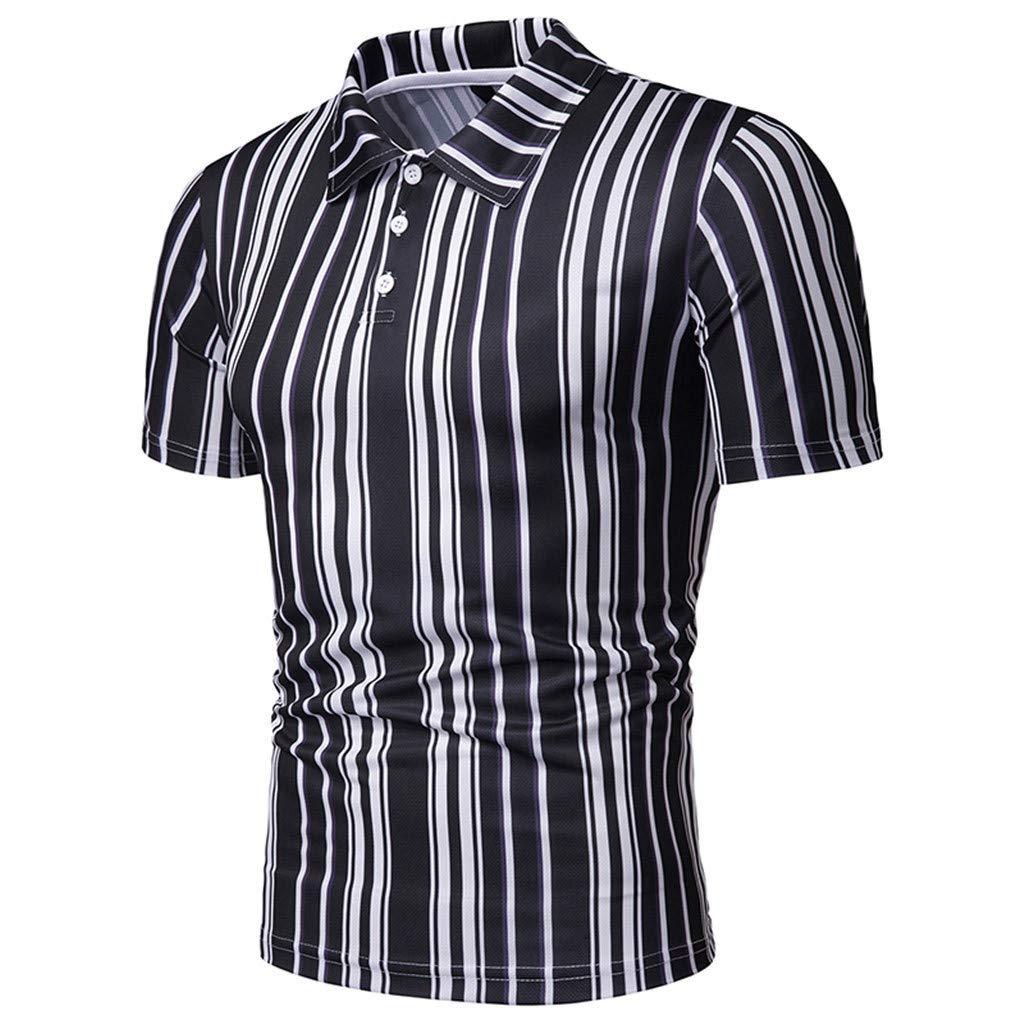 SANGQU Mens Casual Slim Button Short Sleeve Stripe Printing T-Shirt Top Blouse