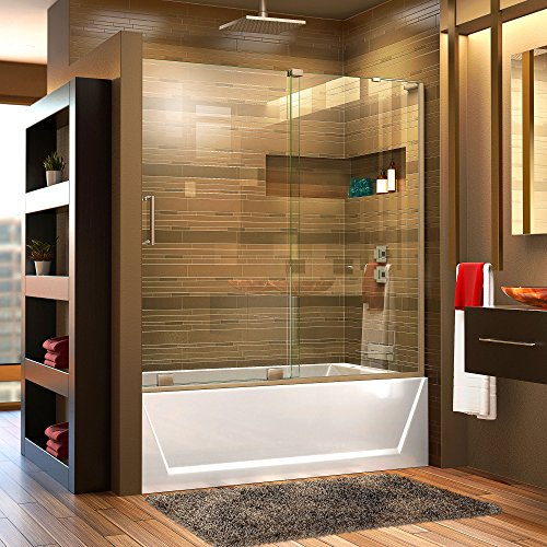 DreamLine Mirage-X 56-60 in. Width, Frameless Sliding Tub Door, 3 8 Glass, Brushed Nickel Finish