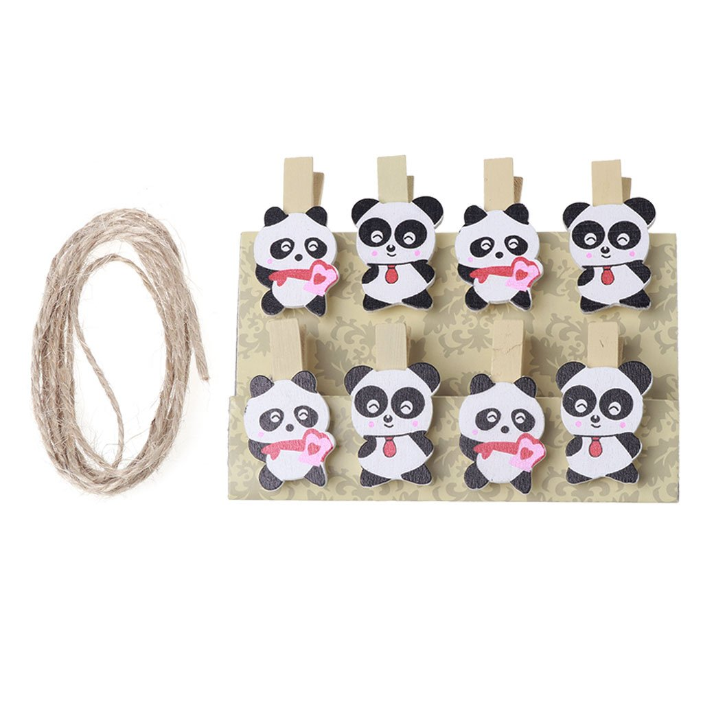 Xuniu 8 Pezzi Panda Mini in Legno Craft Clip Foto Carta Carta peg Pin molletta con Corda