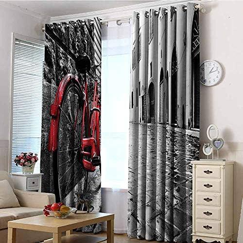 VIVIDX, Tenda Oscurante per Finestra, Decorazione Bicicletta, 2 Pannelli, Rosso, Nero e Bianco 96″x72″(245cmx183cm) Color01