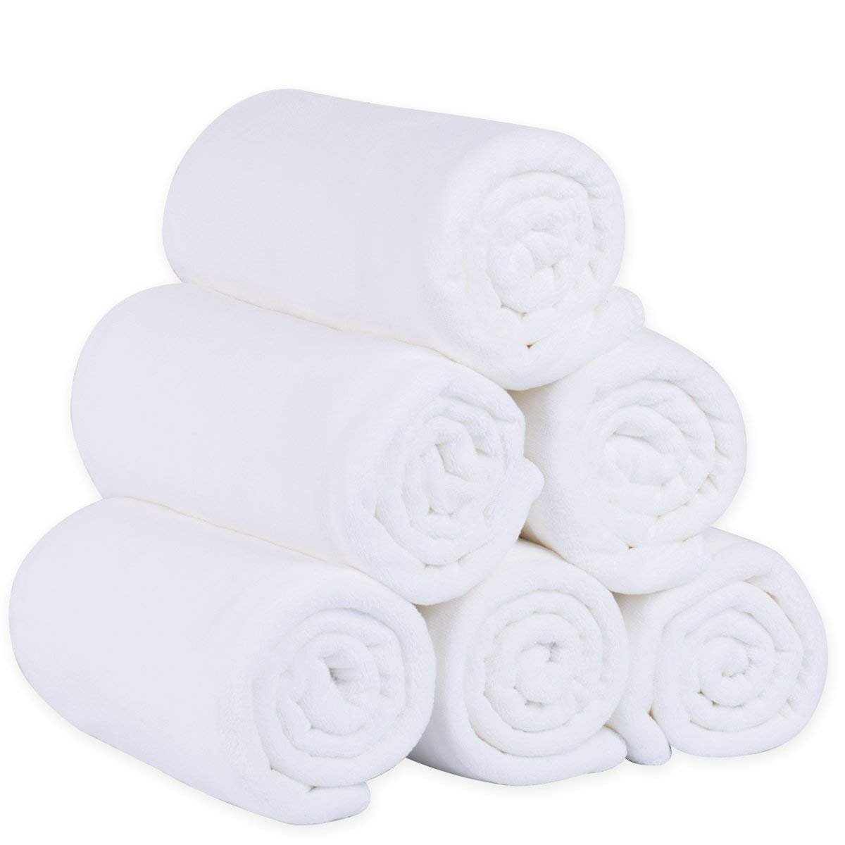 "JML Microfiber Bath Towels, Bath Towel Sets (6 Pack, 27"" x 55"") - Oversized, Extra Absorbent and Fast Drying, Antibacterial, Multipurpose Microfiber Towel for Bath, Beach, Pool, Sports, Yoga - White"