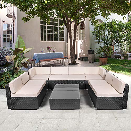 U-MAX 10 Pieces Patio PE Rattan Wicker Sofa Set Outdoor Sectional Furniture Conversation Chair Set with Cushions and Tea Table Black ()