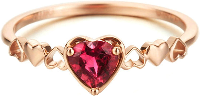 Epinki Anillo de Diamantes para Mujer Oro de 18 quilates Anillos (Au750), 0.35Ct Rosa Turmalina Corazón Anillos de Compromiso Anillo Solitario Para Novia