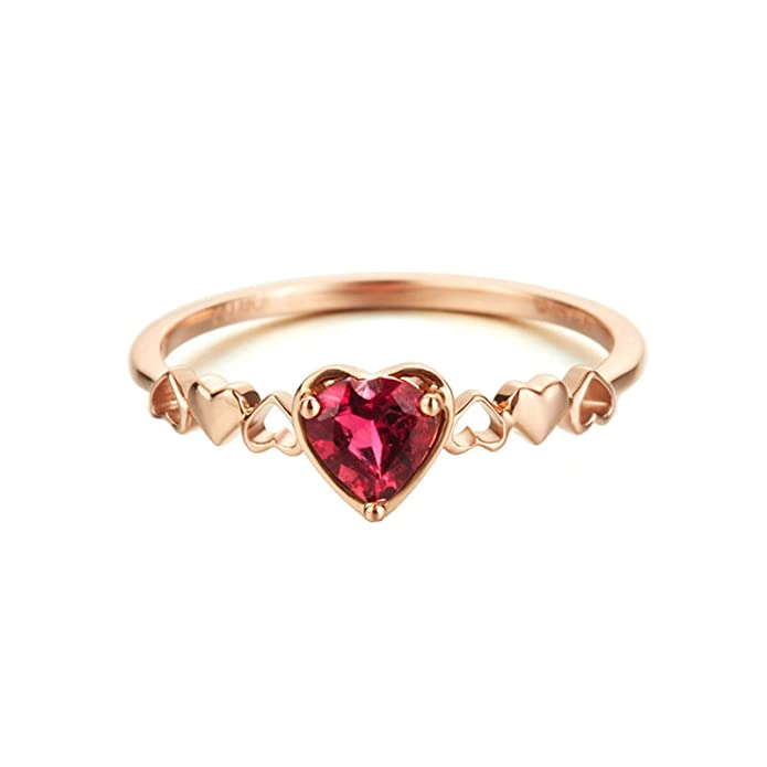 Amazon.com: 18K Gold Ring(Au750), 0.35Ct Pink Tourmaline Heart Ring Wedding Engagement Ring for Women Bride: Jewelry
