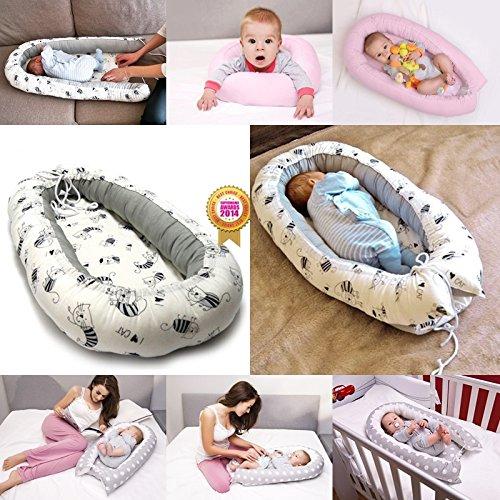 Pod nido para bebé 0 - 6 meses ropa de cama, viaje, Cuna, dormir recién nacido 100% bambú Gray with Cats: Amazon.es: Bebé