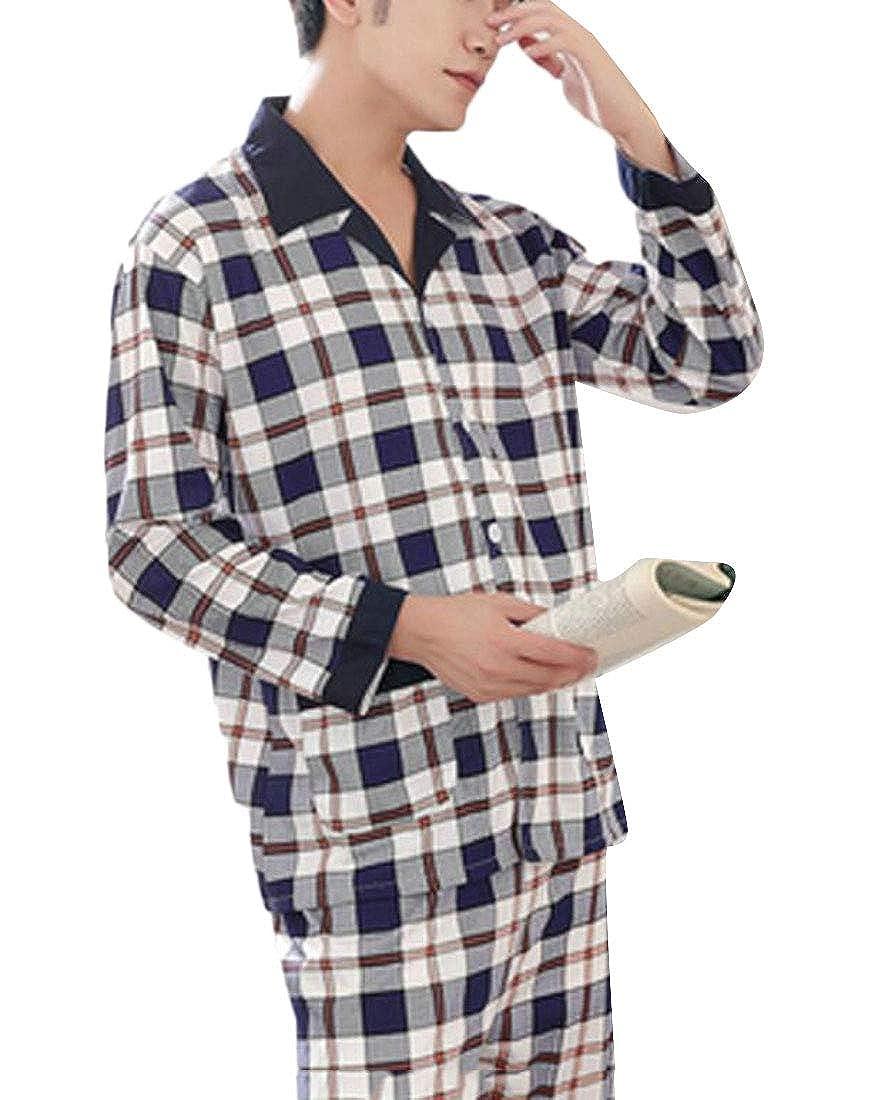 X-Future Mens Nightwear Long Sleeve Print Buttons Sleepwear Pajama Sets