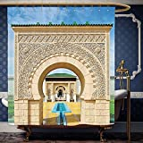 Wanranhome Custom-made shower curtain Arabian by Traditional Moroccan Architecture in African Islamic East Style with Carving and Flower Photo Multi For Bathroom Decoration 72 x 88 inches