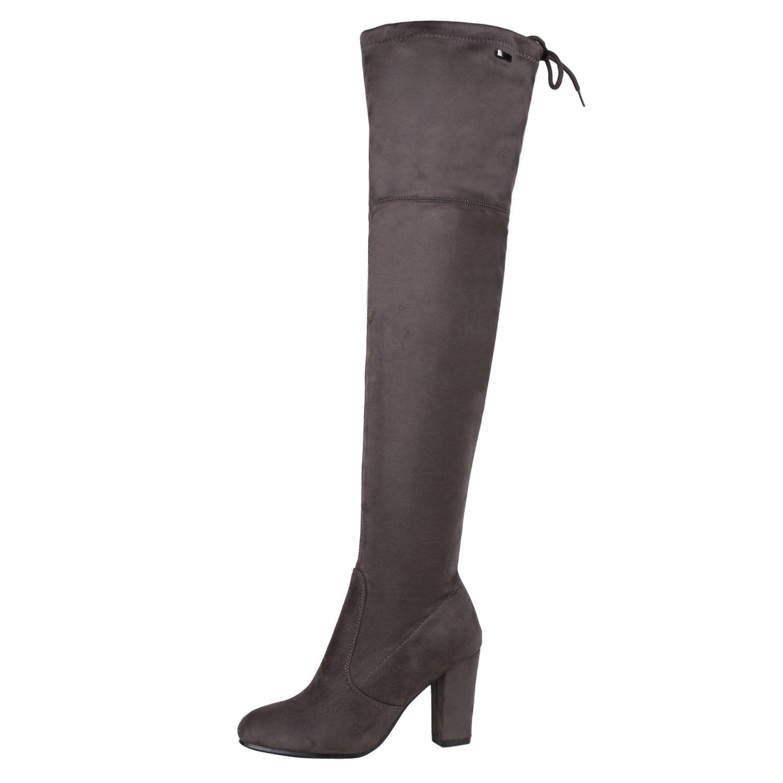 napoli-fashion Damen Stiefel Overknees 70s Look Boots Veloursleder-Optik Schuhe Blockabsatz High Heels Profilsohle Langschaftstiefel Jennika Grau