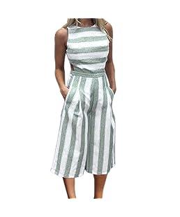 Mujeres Monos Ropa Sin Mangas ❤️Lonshell Jumpsuit Rayas o-Cuello de Ropa Suelta Elegante Verano Clubwear Mameluco Ropa de Moda Algodón (S, Verde)