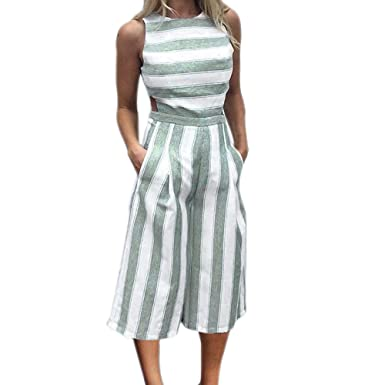 d7f4b2ae7dc Hengshikeji Women Striped Wide Leg Pants Romper Jumpsuits Playsuits  Sleeveless Bodysuits Teen Girls for Summer (