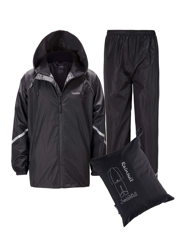 Rain Suit Gear Coat for Men Waterproof Hooded Rainwear Jacket & Trouser Black Stripe Medium X-Large by Sikedi