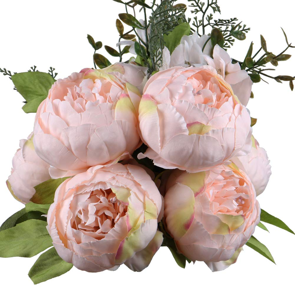 LeagelFake Flowers Vintage Artificial Peony Silk Flowers Bouquet Wedding Home Decoration, Pack of 1 (Spring Pure Pink)