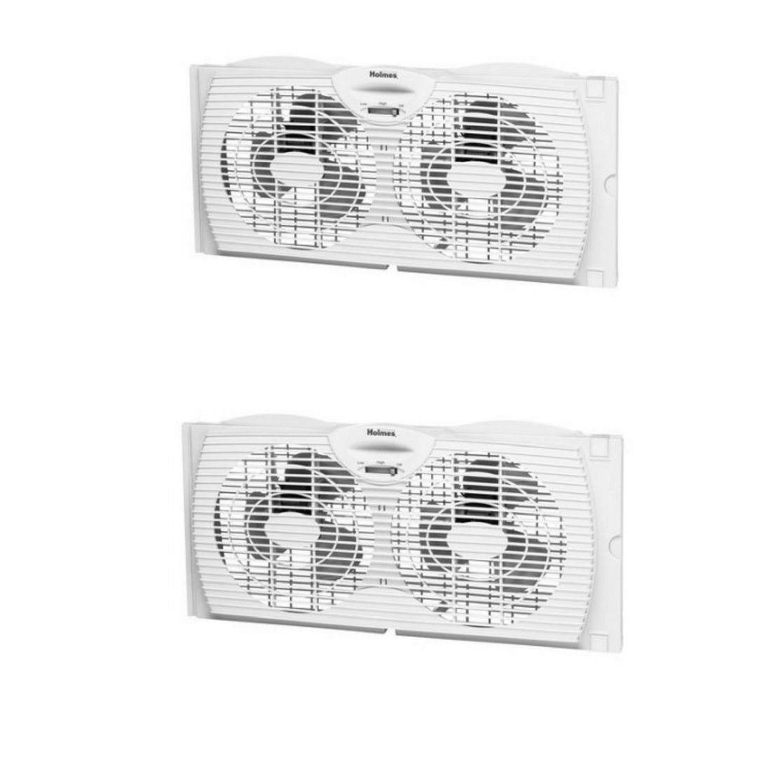 Holmes HAWF2021-WMUM Dual Blade Twin Window Fan 6'' blades Slim Design set of two