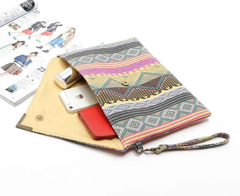 Duketea Bohemian Oversized Clutch Purse Large Canvas Envelope