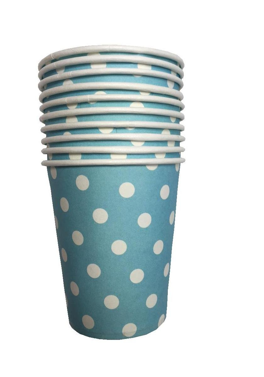 10pcs Polka Dots Paper Tableware Cups Birthday Party Wedding Events Drinking (Black Polka Dots Cups) Cathy's toy Shop