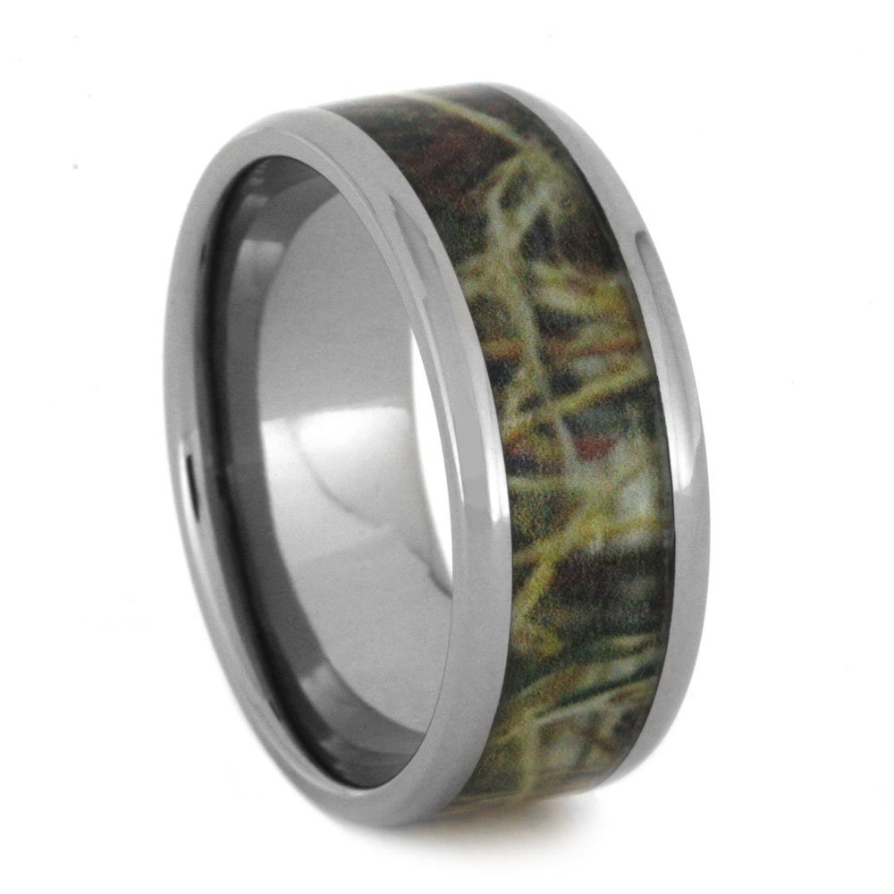 Army Camouflage 9mm Comfort-Fit Titanium Wedding Band, Size 12.25