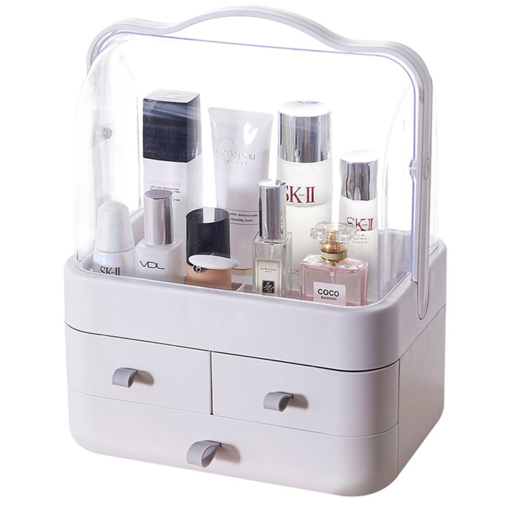 Rart Dustproof and Waterproof Makeup Storage Box,Transparent Plastic Storage Container Box Cosmetics case-Keeping Your Dressing Table More Tidy -B 25x19x24cm(10x7x9inch)