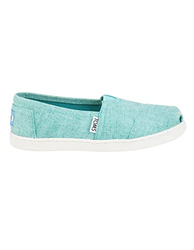 d9db7251f754 TOMS Youth Tiny Classics 2.0 Slip-on Shoes Turquoise Coated Linen 1 Little  Kid
