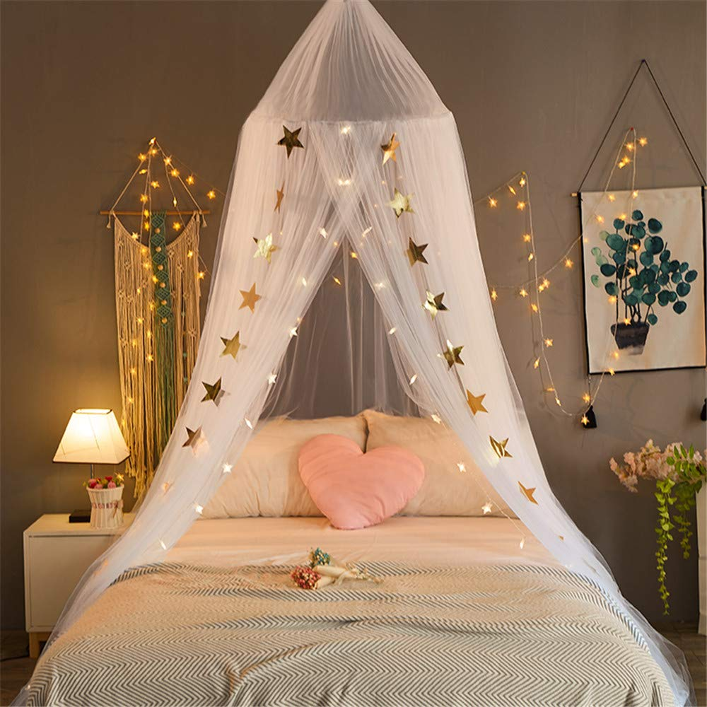 EVDAY Romantic Princess Style White Bed Canopy with Lights for Girls Kids Play Tent Hanging Mosquito Net Curtain for Kids Room Decoration