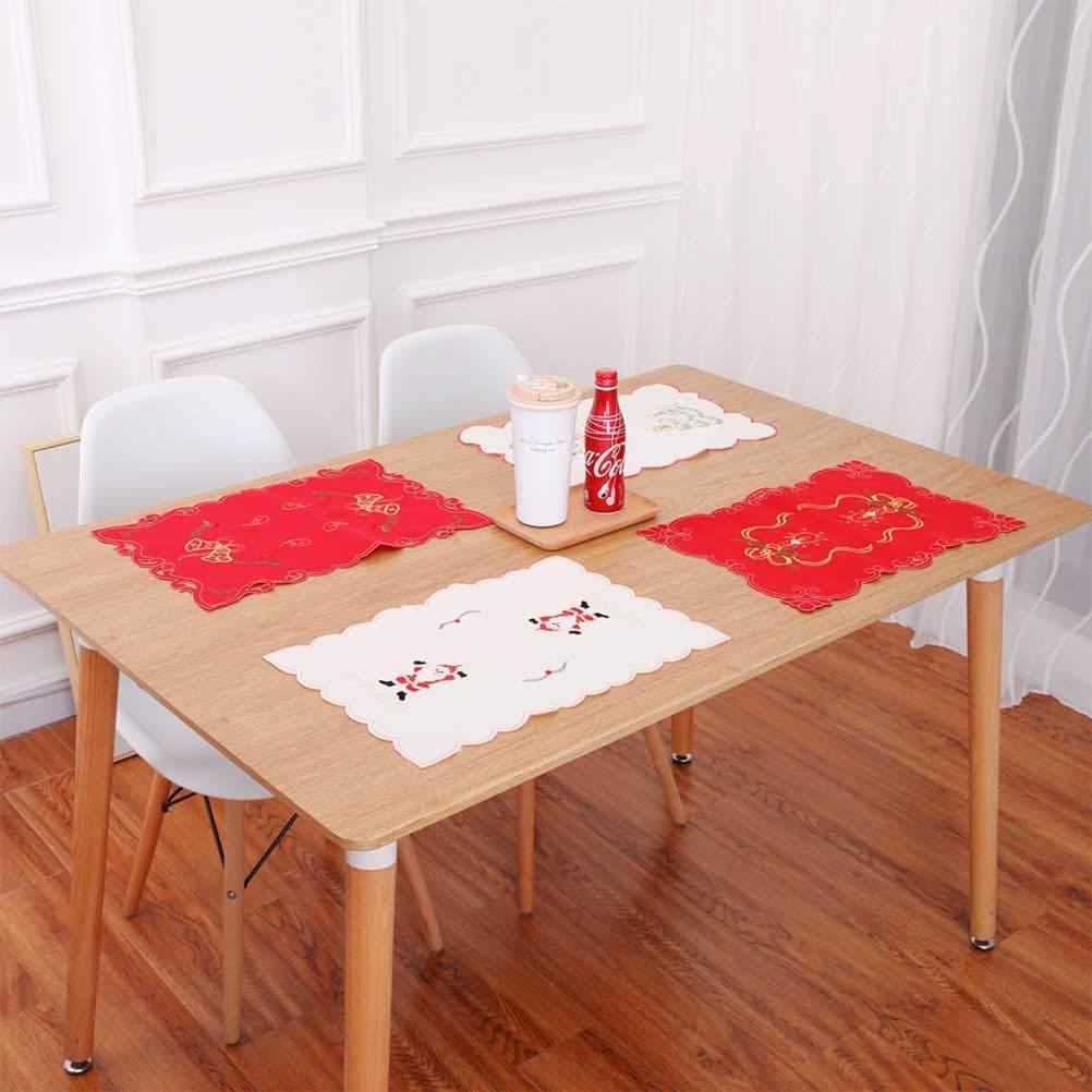 BESTOYARD Fiesta de Navidad hueca Placemat Estera de tabla de la fiesta de Navidad Plato Placemat Tabla Decoraci/ón 2pcs