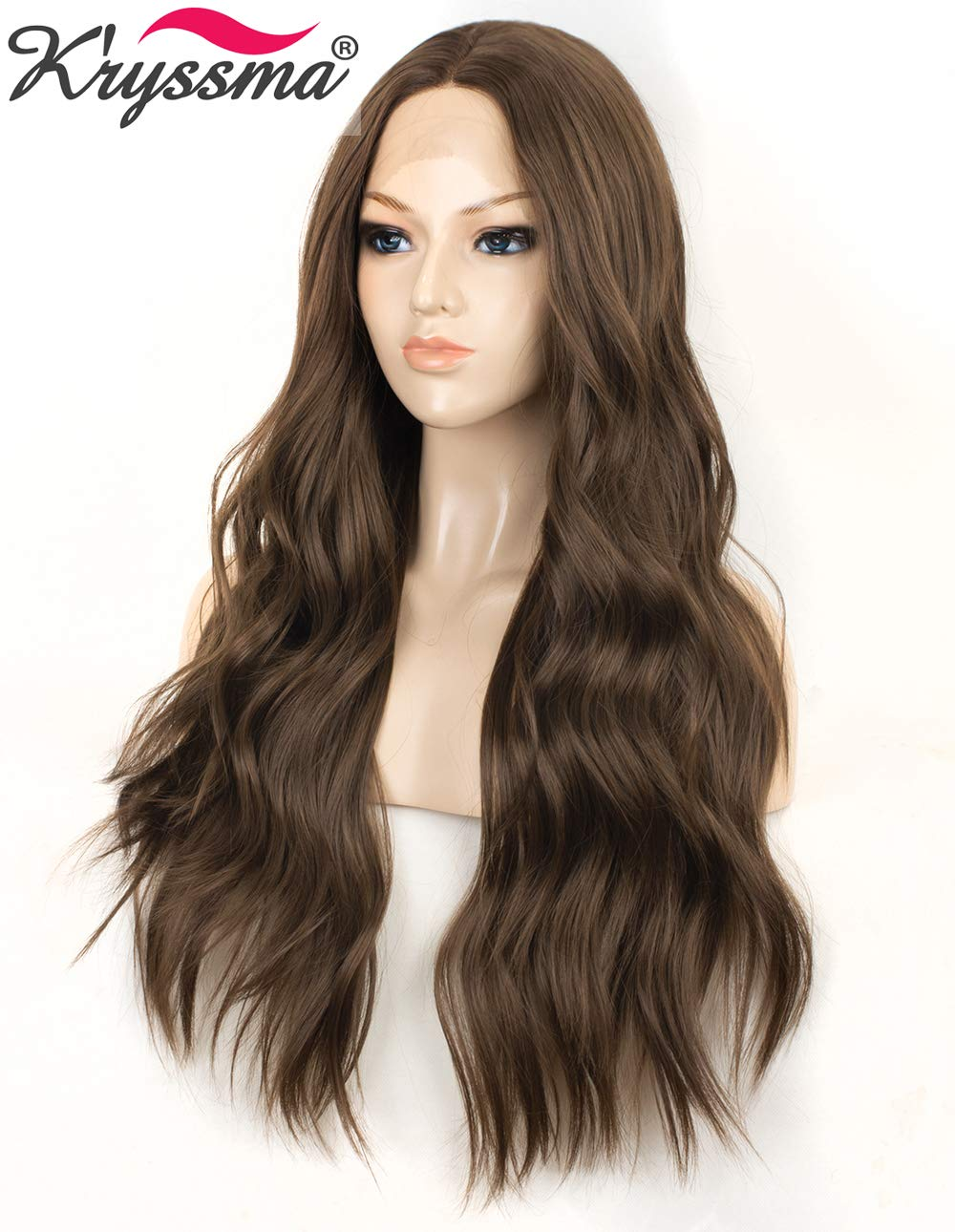 K'ryssma Fashion Brown Lace Front Wigs for Women Long Wavy Synthetic Wig Middle Parting Heat Resistant Glueless Brown Wig 22 inches by K'ryssma