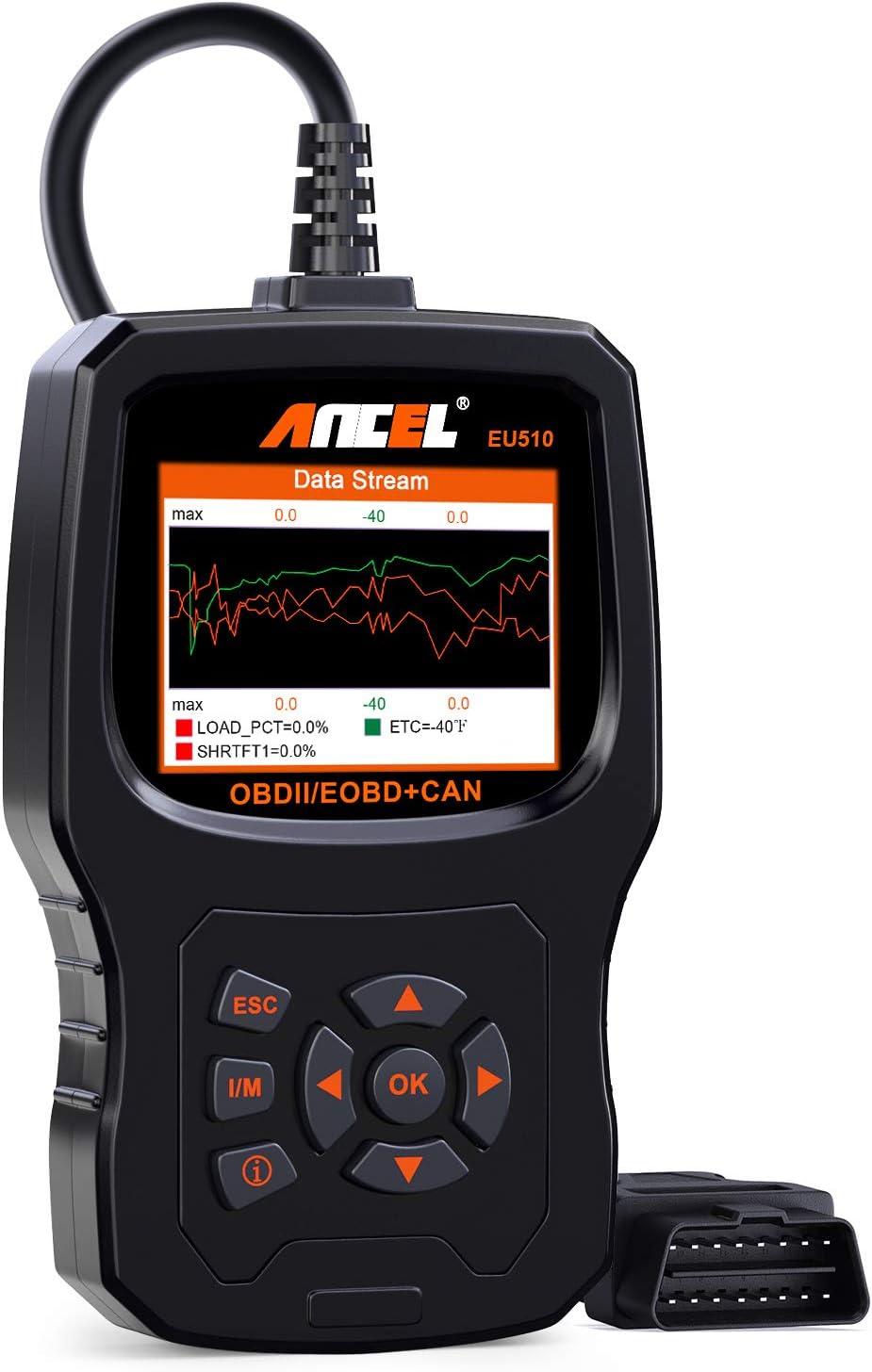 ANCEL EU510 Lector de Códigos OBDII Herramienta de Error de Motor Diagnóstico Escáner Automático OBD2 Coche predeterminado con prueba de batería para vehículos diésel y gasolina con manual en español