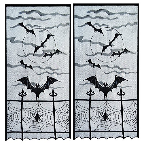 Topbuti Halloween Window Curtain Valance, Pack of 2 Black Spider Web Valance Window Curtain Spooky Window Door Curtain Panel Decor for Spooky Halloween Party Home Decoration -