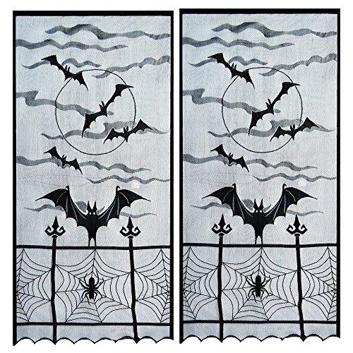 Topbuti Halloween Window Curtain Valance, Pack of 2 Black Spider Web Valance Window Curtain Spooky Window Door Curtain Panel Decor for Spooky Halloween Party Home Decoration ()