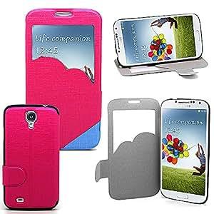 Accessory Master - Funda tipo libro para Samsung Galaxy S4 i9500 (piel sintética, tarjetero), color rosa