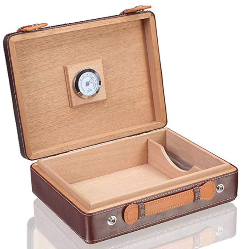 HYZXJHE Cigar Box, Portable Cedar Wood Leather Cigar Travel Cigar Box Leather Moisturizer Cabinet with Moisturizer