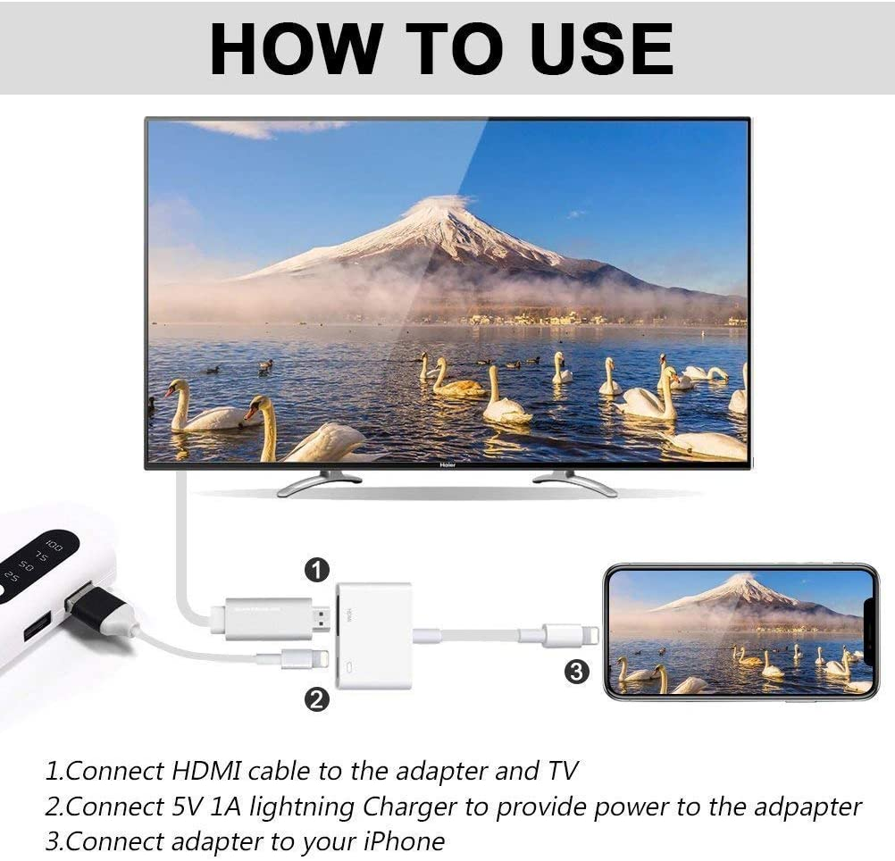 2 in 1 Plug and Play Digital AV Adapter 1080p HD TV Connector Cord Compatible with iPhone 11//11 Pro//XS//XR//X//8 on HDTV Monitor Projector Lightning to HDMI Adapter Apple MFi Certified