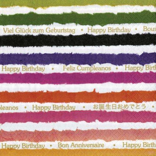 Entertaining with Caspari Cocktail Napkin, Birthday, Multicolor, 20-Pack