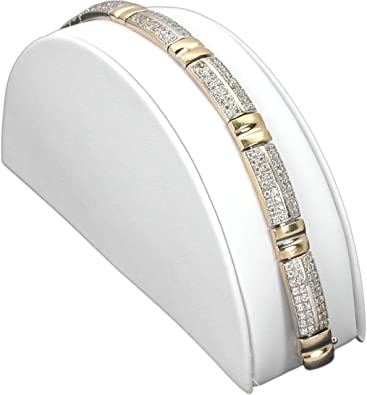 FindingKing White Leather Bracelet Half Moon Display Ramp Stand