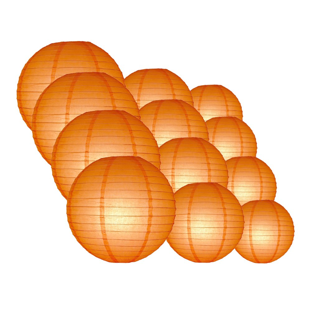 Quasimoon EVP-OR-CP12 12pcs Pack (12/10/8 Inch) Paper Lanterns Even Ribbing, Orange, 12 Piece Set