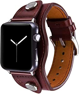 Konafei Compatible with Apple Watch Band 40mm 38mm iwatch Series 6/5/4/3/2/1/SE, Leather Metal Cuff Bracelets Retro Strap for Men Women (Red, 38/40mm)