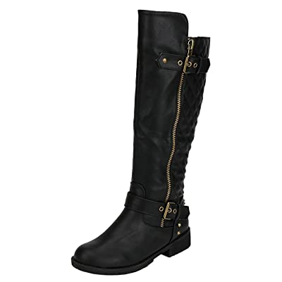 Nature Breeze Ladies Vivienne-01 Quilted Knee High Motorcycle Boot | Knee-High