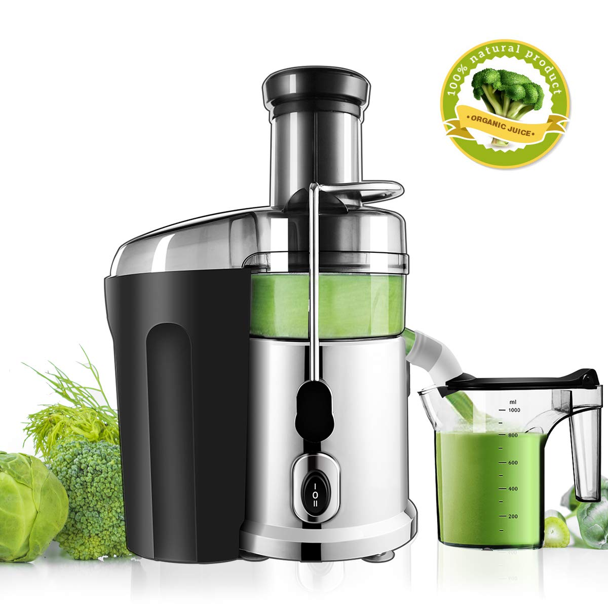 Baabyoo Electric Juicer Centrifugal Juicers Fruit and Juice Extractor Juicer with 1L Custom Juice Cup Fruit Squeezer 850Watt Juice Maker Stainless Steel