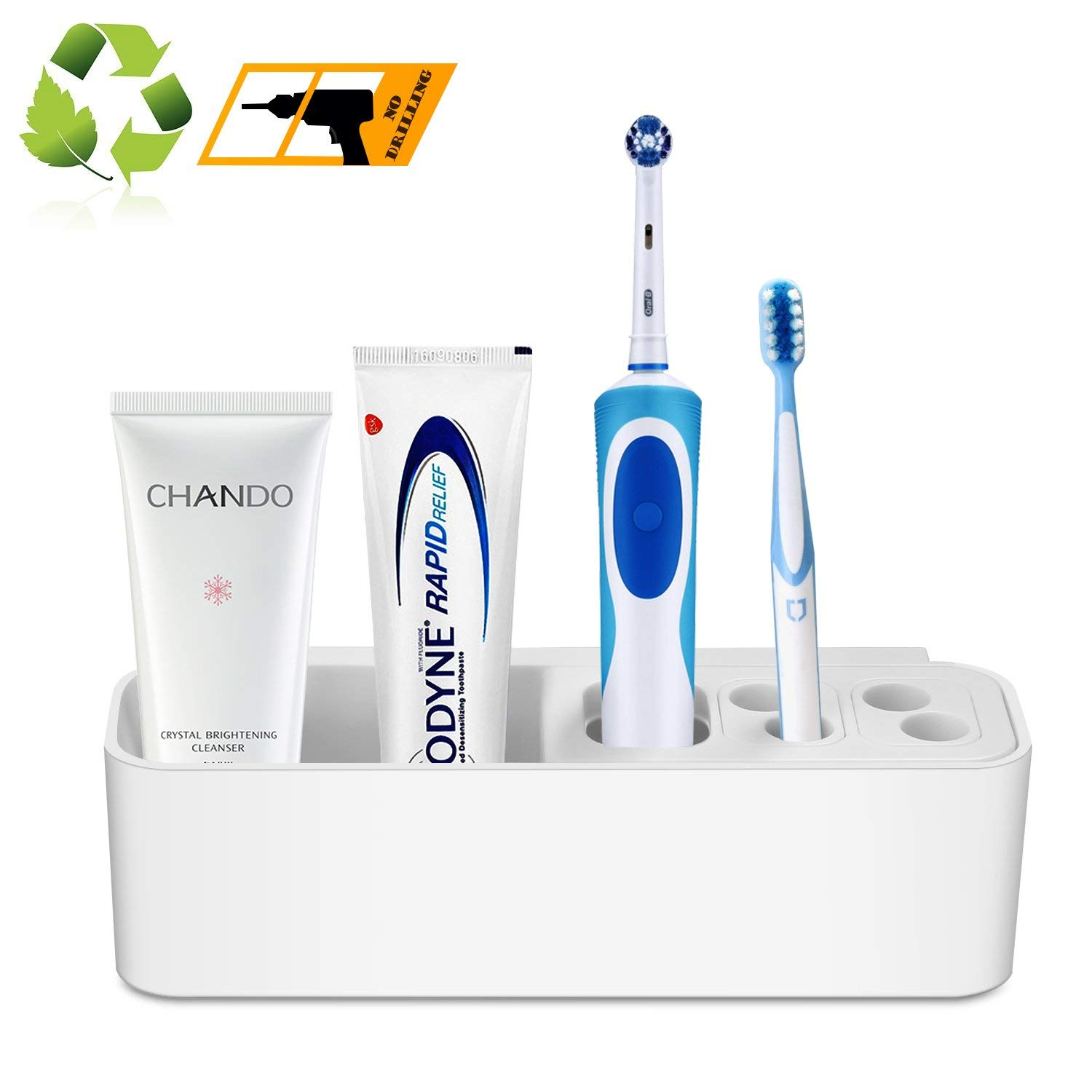 hblife Toothbrush and Toothpaste Holder, Wall Mounted Electric Toothbrush Caddy with Srong Suction for Bathroom Detachable (White)