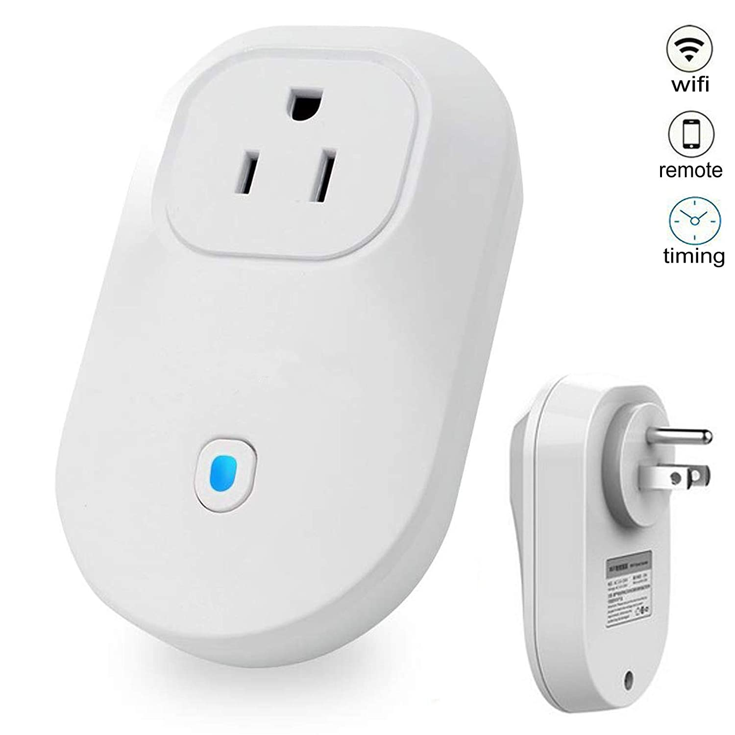 WiFi Smart Plug Outlet Socket US Plug Wireless Remote Controlled Switch Outlet with Home Automation App Energy Saving Smart Outlet Timing Function No Hub Required for Bedroom Home Office Travel Phone