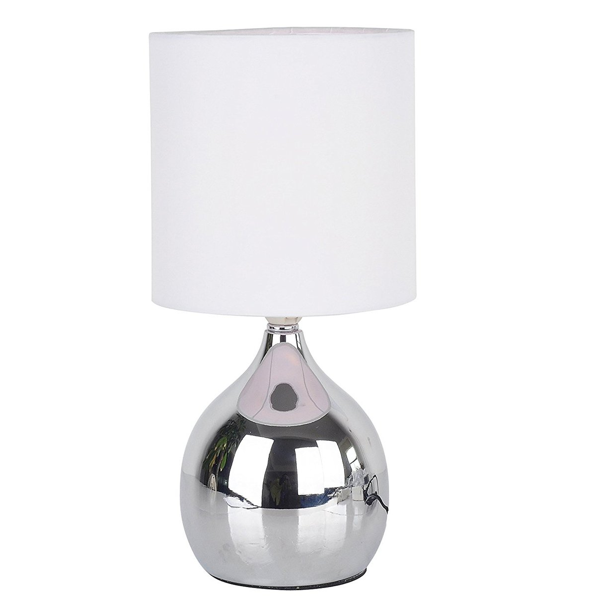 tiffanyhouse Touch Lamps 4 Stage White Chrome Mini Small Table Desk Bedside Light Wide 6 inch Tall 12 inch