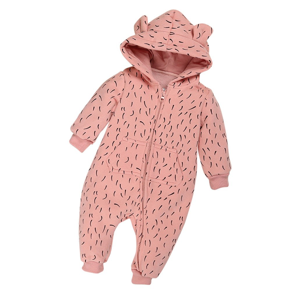Robemon vêtement bébé garçons Filles Automne Hiver Polaire Impression Fermeture éclair Épaissi Barboteuse Hoodies Ensemble 6-24Mois