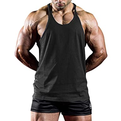 b36f69366775a Hosamtel Men Summer Tank Top Sleeveless Solid T-Shirt Casual Fitness Gym  Bodybuilding Workout Fashion
