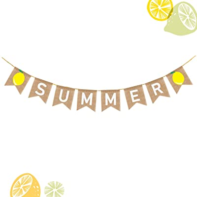 WATINC Summer Burlap Banner, Lemon Summer Bunting Garland for Welcome Summer Party Decorations, Lemonade Theme Party Favors Supplies, Hawaii Tropical Fruit Pool Party Decor for Mantel Fireplace: Toys & Games