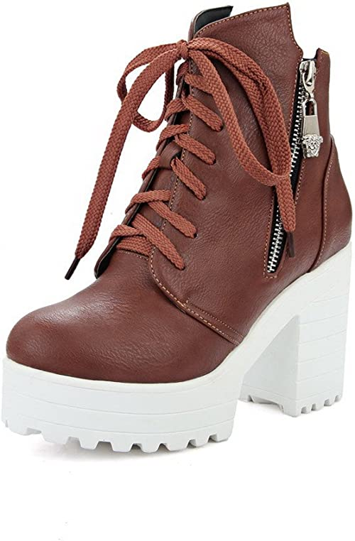 AmoonyFashion Womens Round Closed Toe Low-top Low Heels Solid PU Boots