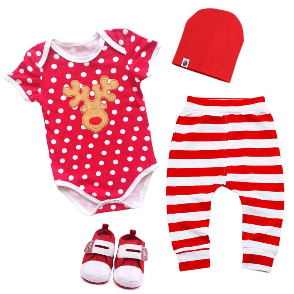 72f875b8603e 4PCS Newborn Infant Unisex Baby Boys Girls Christmas Santa Clothes ...